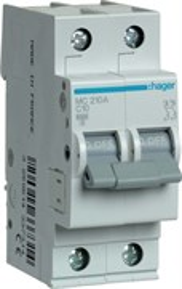 Автоматический выключатель Hager 2P 6kA C-10A 2M MC210A