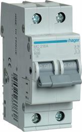 Автоматический выключатель Hager 2P 6kA C-16A 2M MC216A