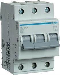 Автоматический выключатель Hager 3P 6kA C-10A 3M MC310A