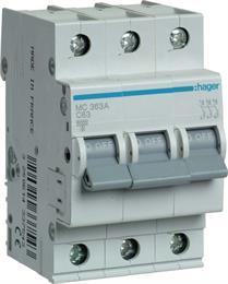 Автоматический выключатель Hager 3P 6kA C-63A 3M MC363A