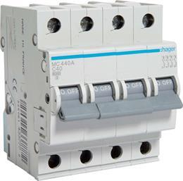 Автоматический выключатель Hager 4P 6kA C-40A 4M MC440A