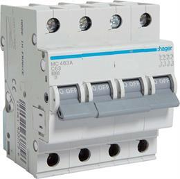 Автоматический выключатель Hager 4P 6kA C-63A 4M MC463A